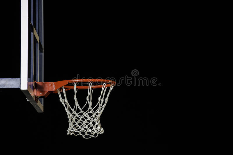 Red basketball hoop isolated on black. Basketball ring. With copy space. Basketball hoop isolated on black background. With copy space royalty free stock image