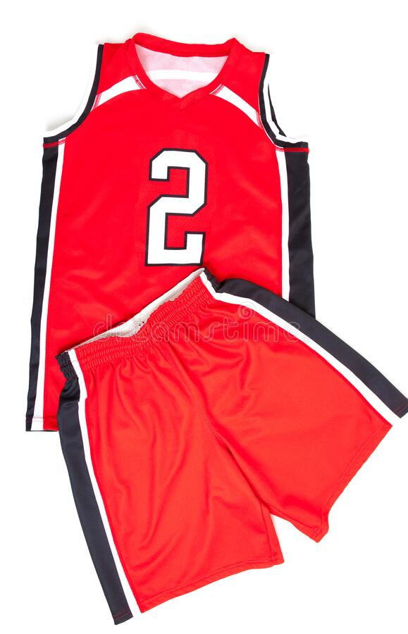 Red basketball uniform on white background stock images