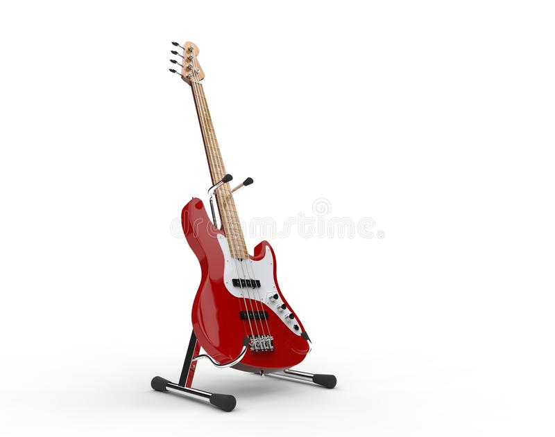 Red Bass Guitar On The Stand vector illustration