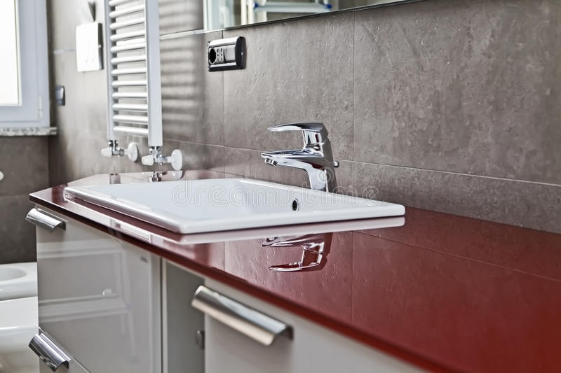 Download Red Bathroom Faucet Reflection Stock Image - Image of lavatory, health: 28690605