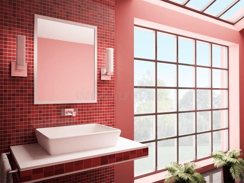Red bathroom interior 3d render stock illustration