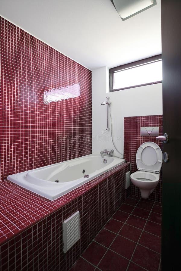 Red bathroom interior royalty free stock photo