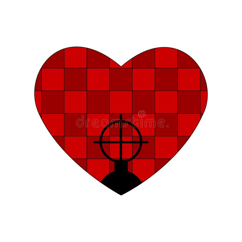 Red bathroom tiles heart, weapon sight and checkered interior. Valentines day pattern tablecloth cellular pattern. Plaid fabric te. Xture. Aim icon , filled flat royalty free illustration