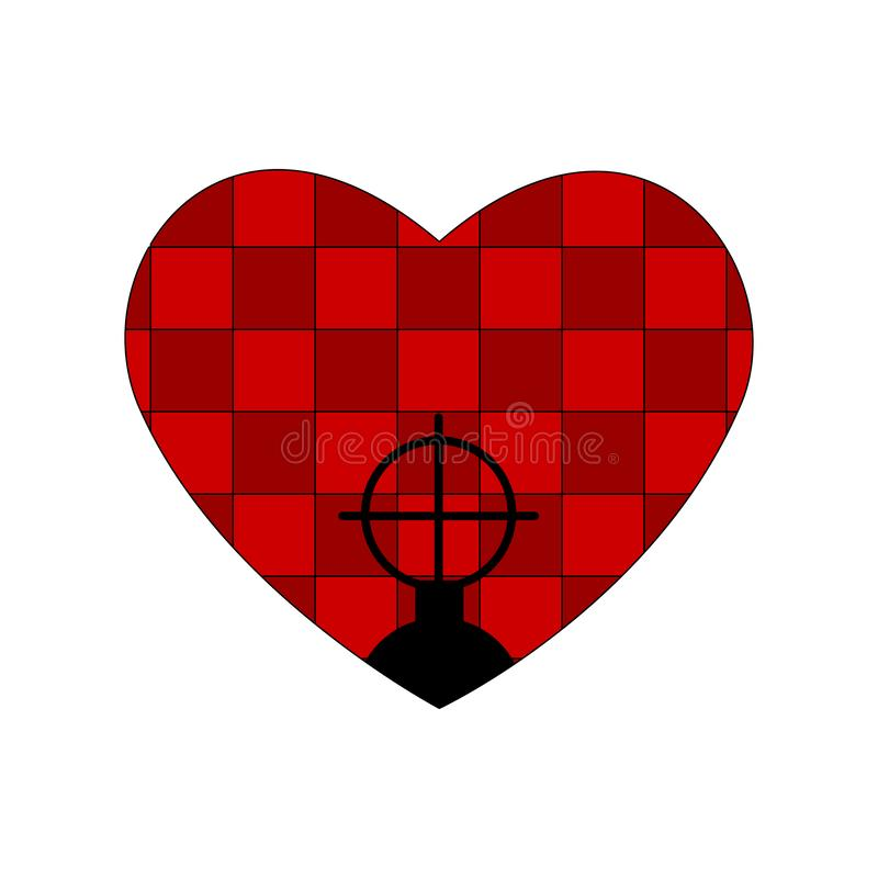 Red bathroom tiles heart, weapon sight and checkered interior. Valentines day pattern tablecloth cellular pattern. Plaid fabric te. Xture. Aim icon , filled flat vector illustration