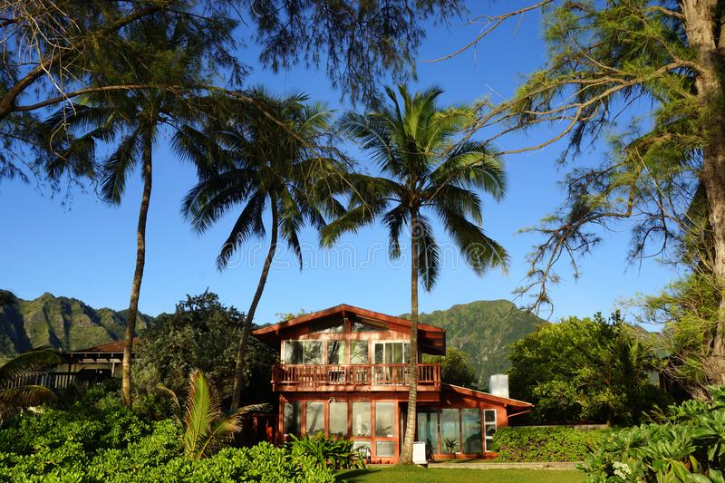 Red Beach House in Waimanalo on a Beautiful Day royalty free stock images