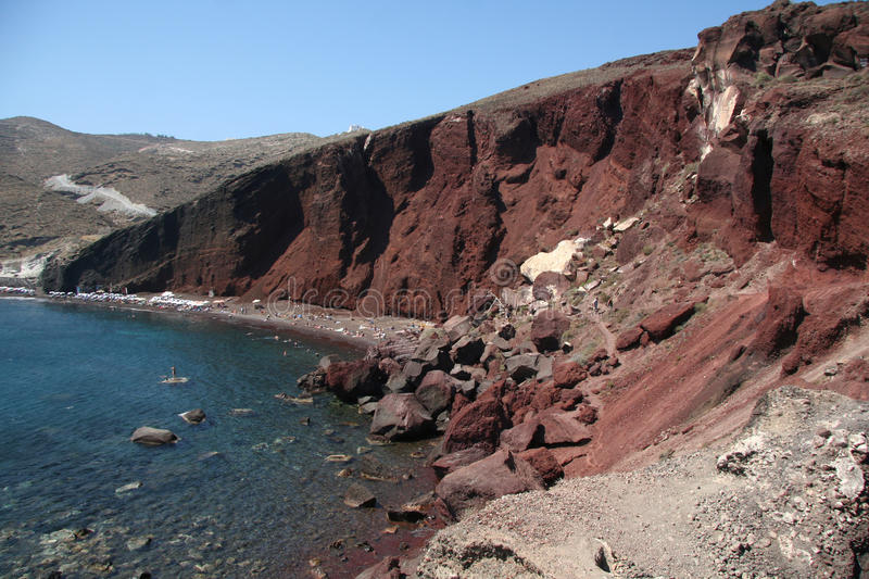Download Red Beach, Santorini Greece Stock Image - Image of tourist, stone: 34295579