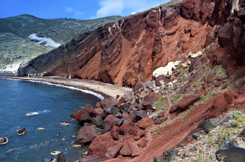 The Red Beach At Santorini Island, Greece Stock Photo