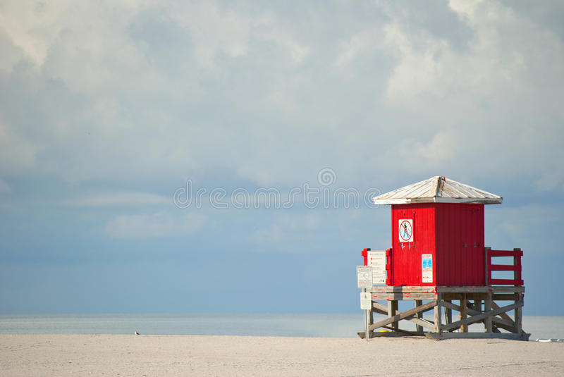 Red Lifeguard Beach Shack royalty free stock photo