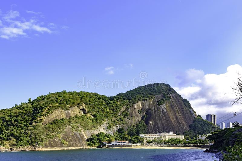Red beach, the starting point of the Sugarloaf hill cable car stock images