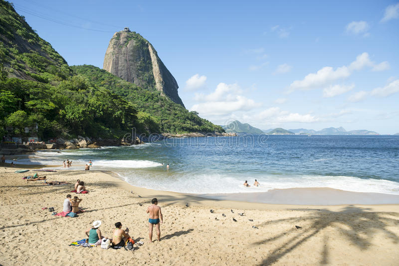 Red Beach Sugarloaf Mountain Rio de Janeiro Brazil stock images