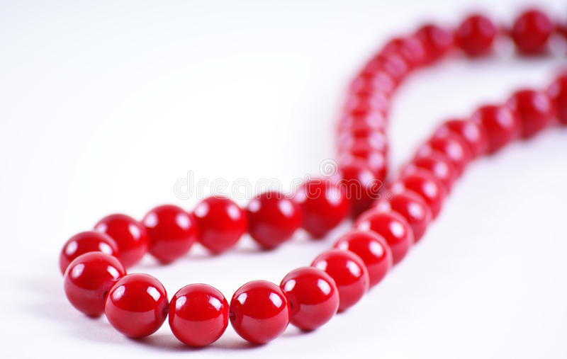 Red beads. Gift on selebrates stock image