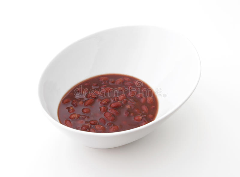 Red Bean Dessert. In a bowl on a white background royalty free stock photo