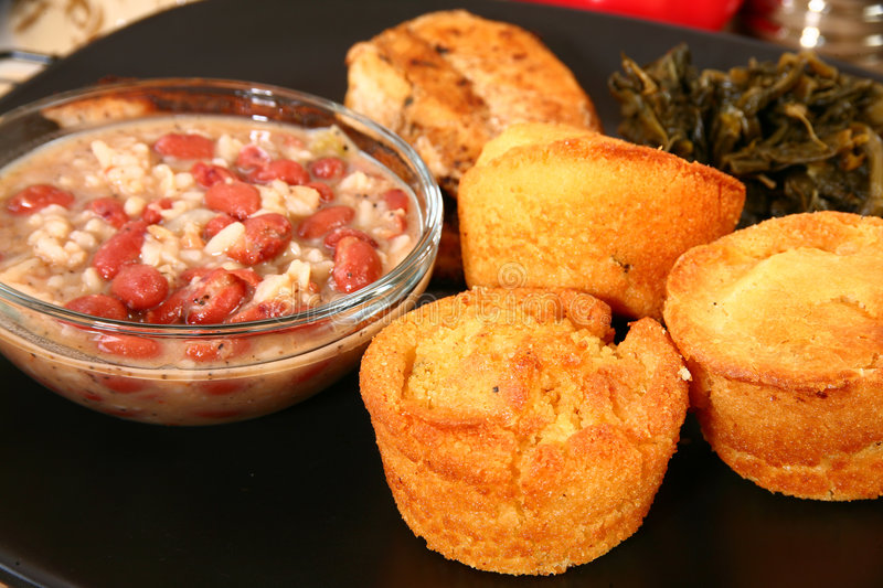 Red Beans and Cornbread. Cornbread and red beans with rice royalty free stock photos