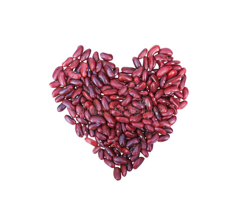 Red beans fresh texture top view in heart shaped patterns isolated on white background and clipping path stock image