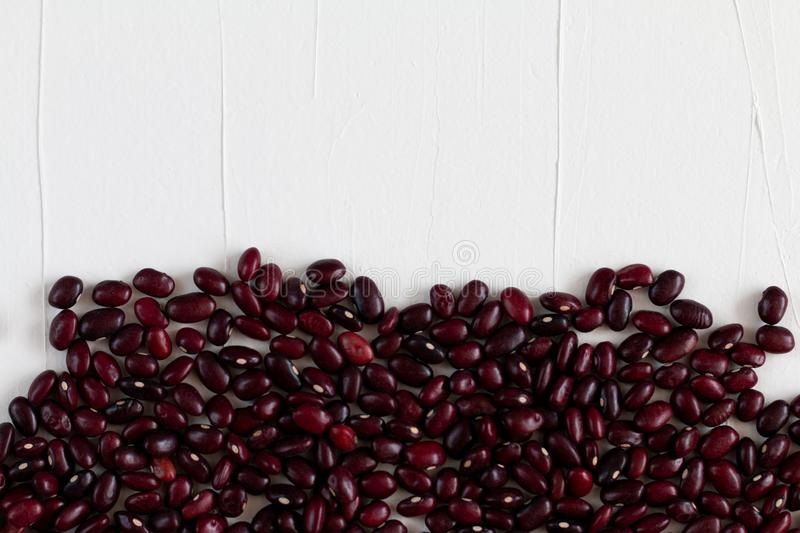 Red beans  isolated on white, healthy food concept, space for text stock photos