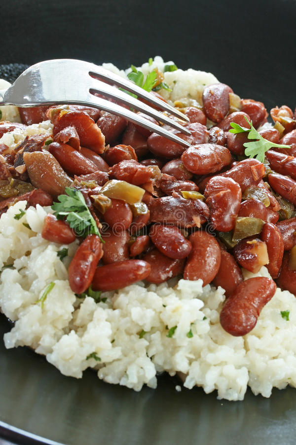 Red Beans and Rice. Plate of red beans and rice with fork stock photography