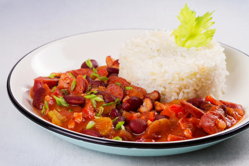 Red Beans with Sausages, Pancetta, Celery Stalks and Rice. stock photos