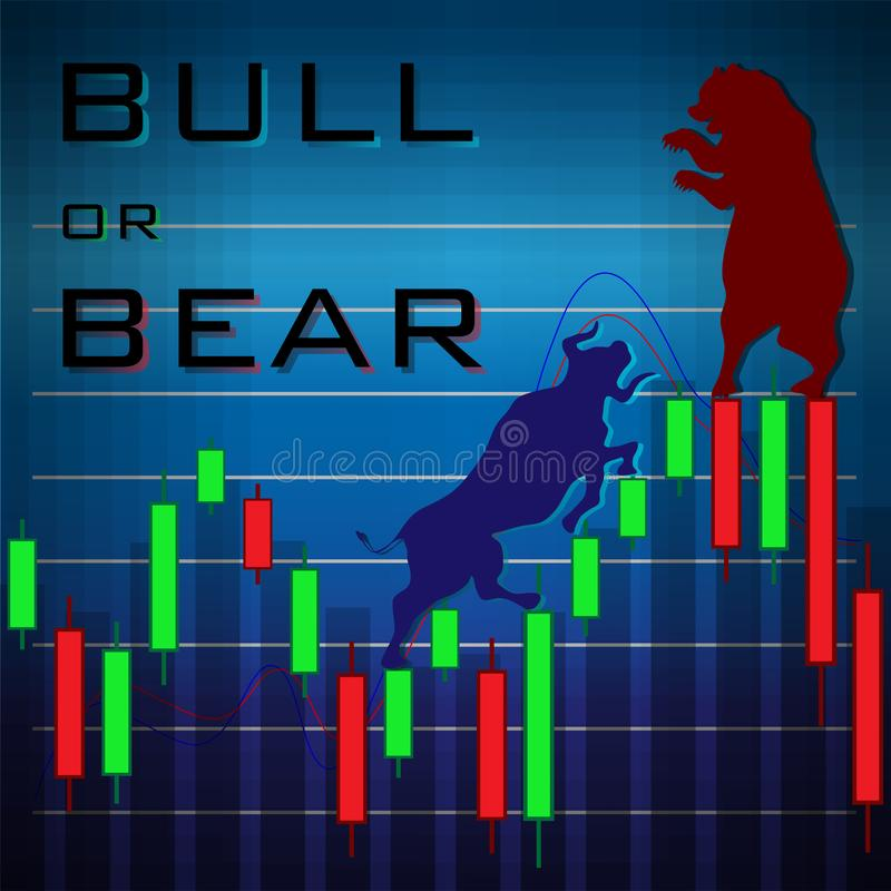 Red bear and blue bull interface on trending candlesticks royalty free illustration