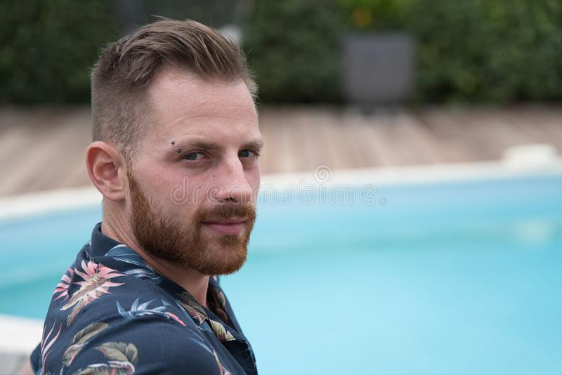 Red beard young male model portrait royalty free stock photo