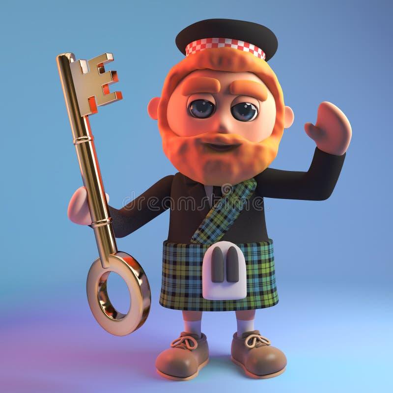 Red bearded Scottish man in tartan kilt and sporran holding a golden key, 3d illustration. Render stock illustration