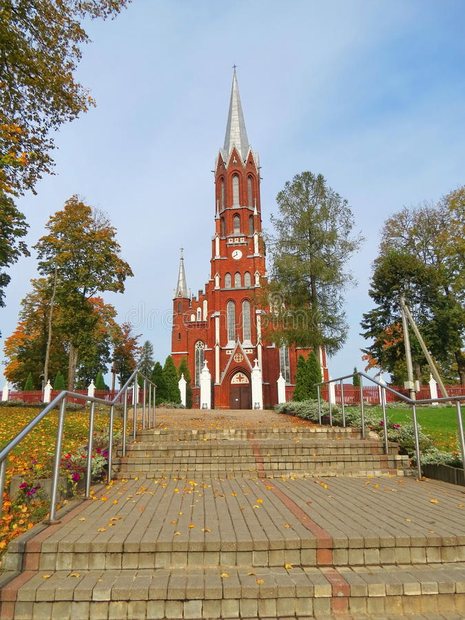 Red beautiful church, Lithuania. Silale St. Francis Assisi church , Lithuania royalty free stock image