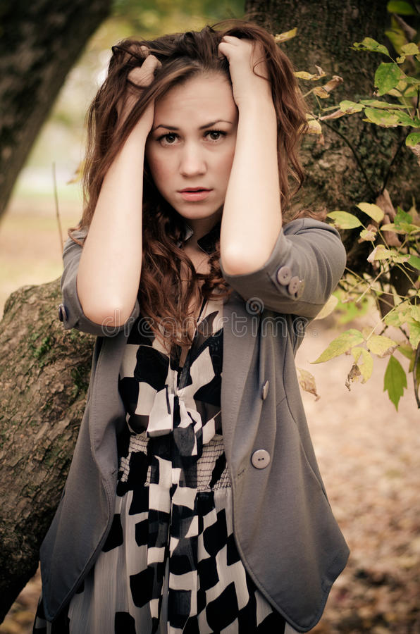 Download Red beauty stock photo. Image of autumn, buttons, hair - 27605256