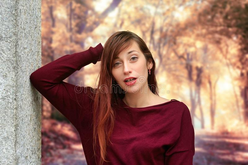 Red, Beauty, Girl, Human Hair Color stock images