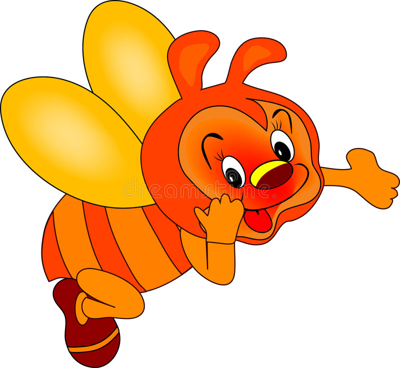 Red bee vector illustration