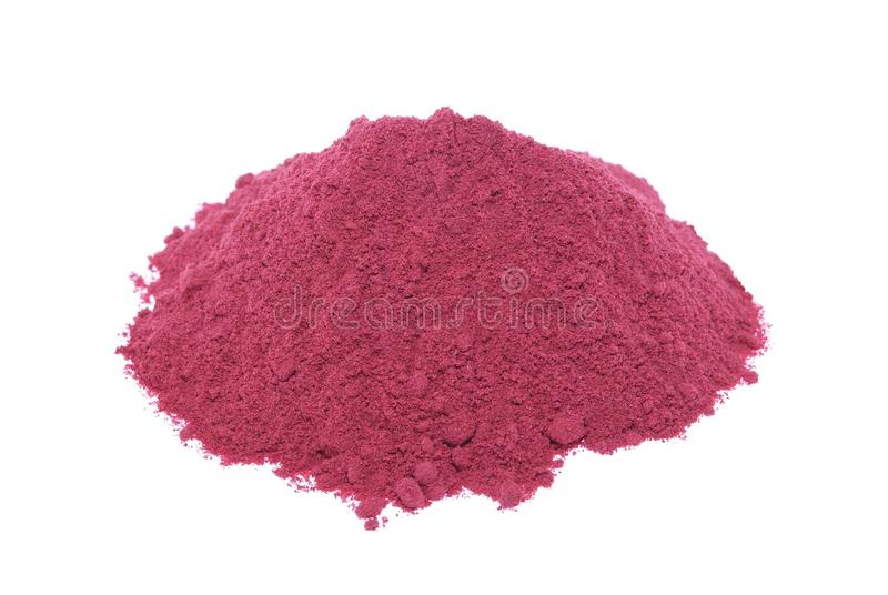Red beetroot powder. Isolated on white background stock images