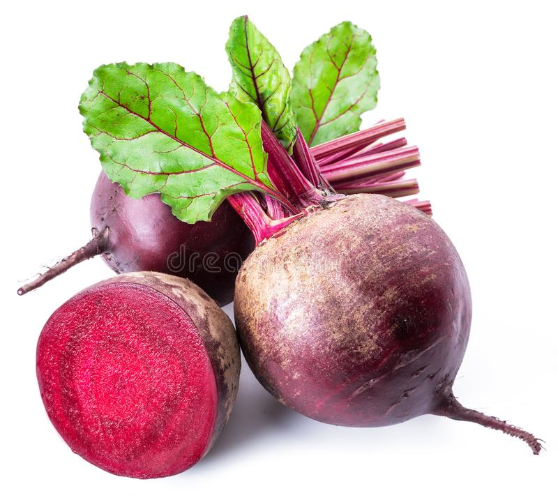 Red beets or beetroots on white background. royalty free stock photos