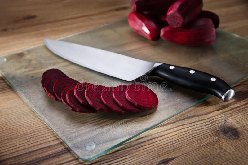Red beets on the cutting board stock photos