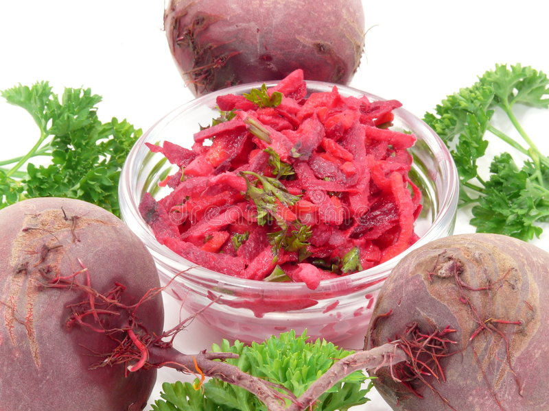Red Beetsalad. Roughly freshly and healthy royalty free stock photo