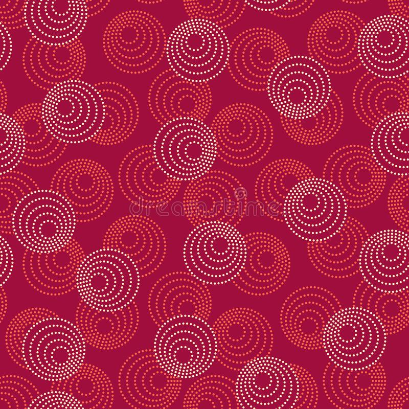 Concentric circles with dotted outline in two colors. Seamless geometric pattern on purple background. Vector image. Red and beige concentric circles with dotted vector illustration