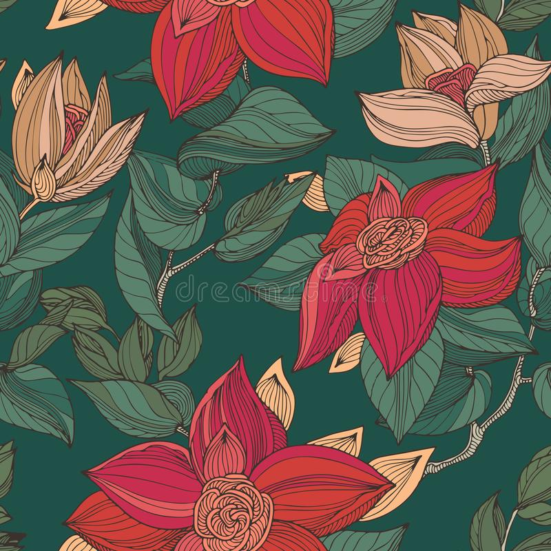 Red, beige and green seamless vintage floral pattern stock illustration