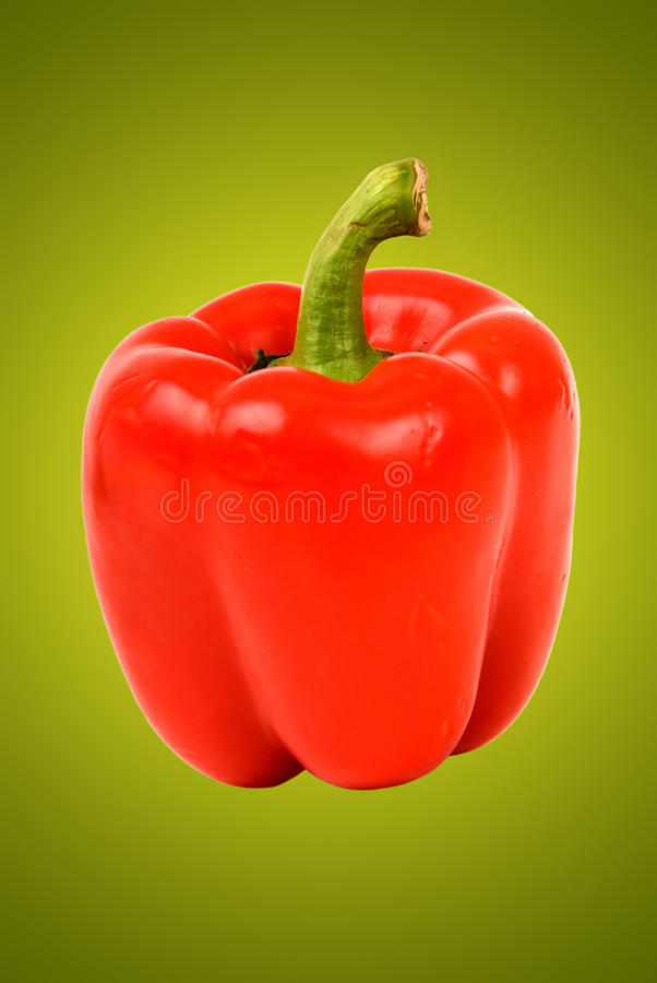 Red bell pepper on green stock image