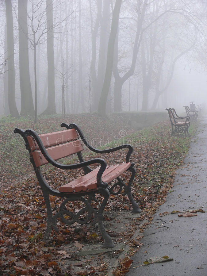 Red bench in the fog royalty free stock image