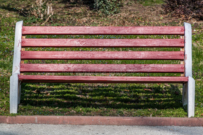 Red bench stock image