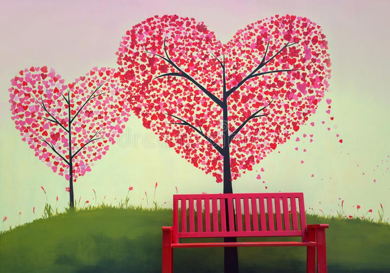 red bench stands in front of the red heart tree. vector illustration