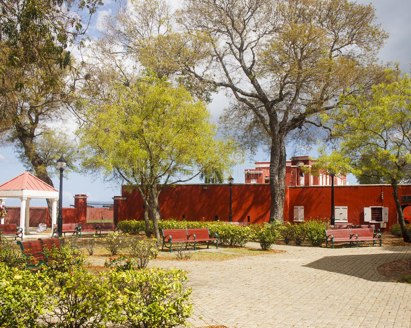 Download Red Benches in Public Park stock photo. Image of wall - 25359726