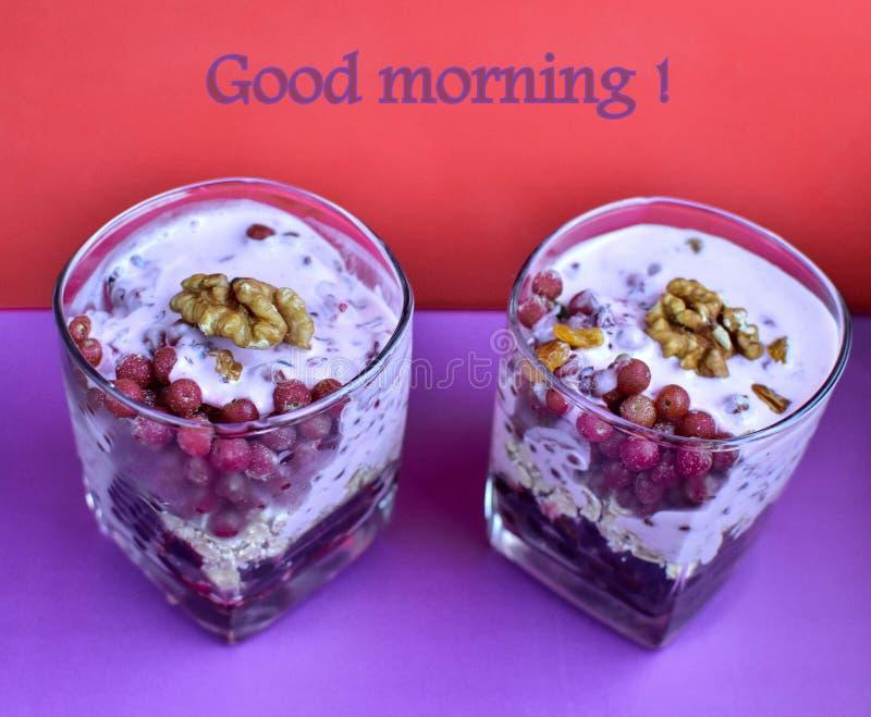 Red berries, black berries, blueberry, breakfast, smuz, porridge with berries, a healthy breakfast, the athlete`s breakfast, porri. Dge with kefir and berries royalty free stock photography