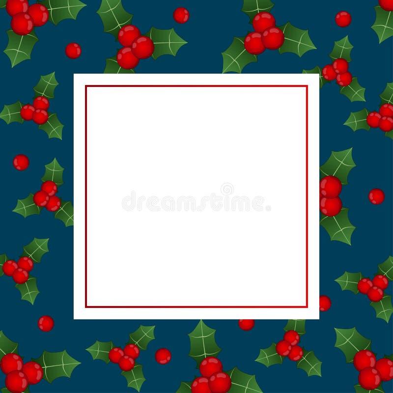 Red Berry Christmas on Indigo Blue Banner Card. Vector Illustration royalty free illustration