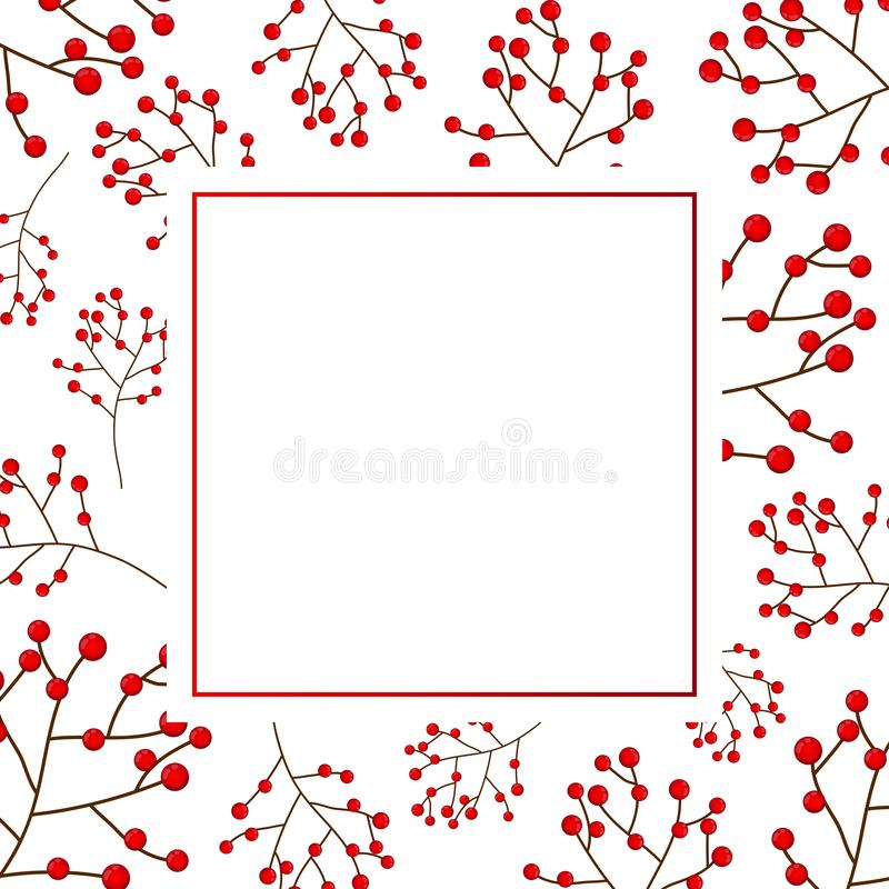Red Berry Christmas on White Banner Card. Vector Illustration royalty free illustration