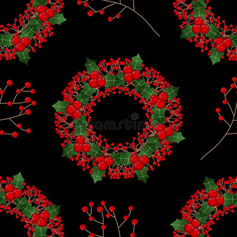 Red Berry Christmas Wreath on Black Background. Vector Illustration vector illustration
