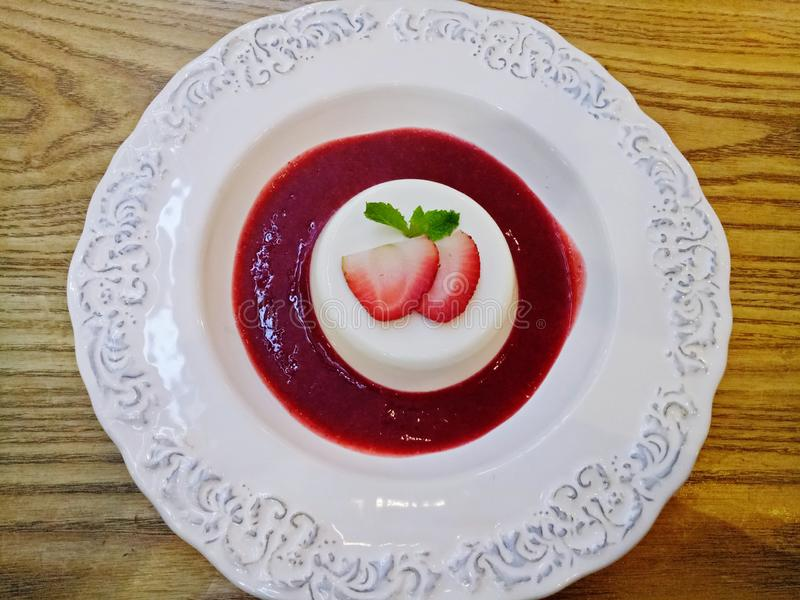 Red berry Panna cotta. Image royalty free stock images