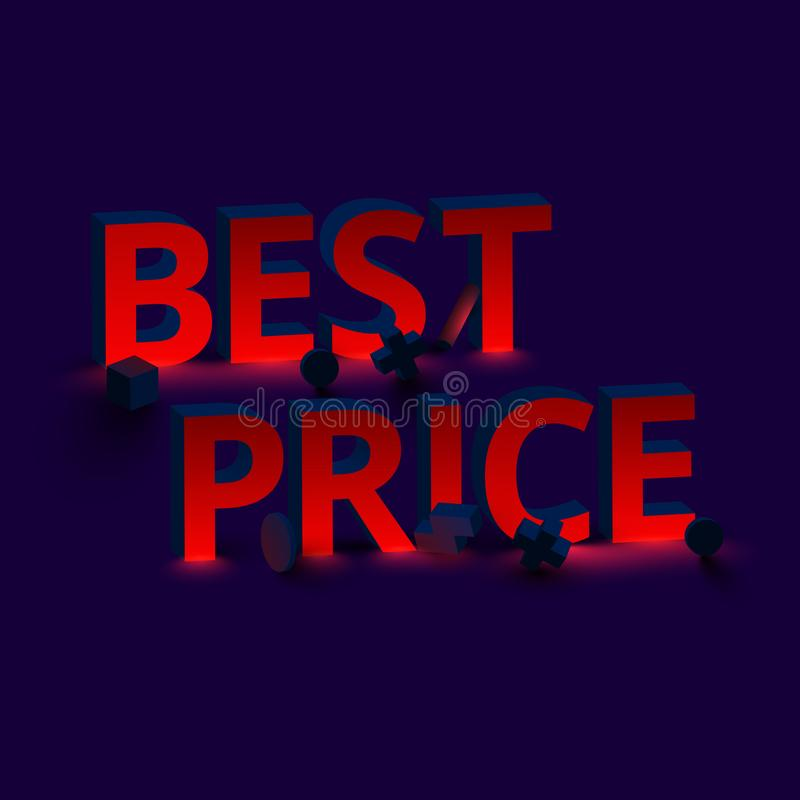 Red best price 3d sign on purple background. royalty free illustration