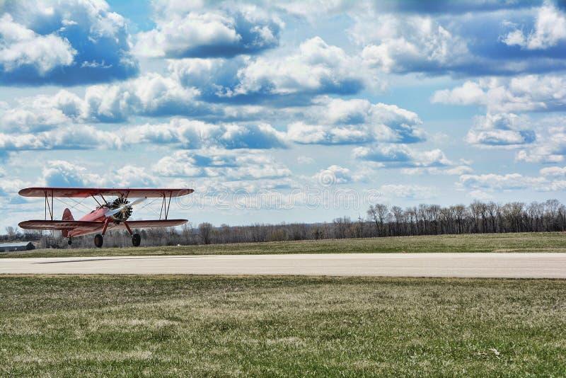 Red Bi-Plane royalty free stock image