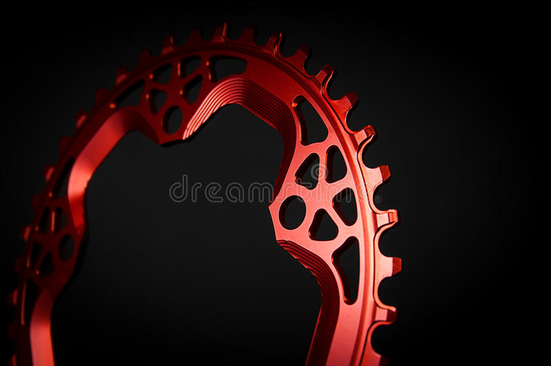 Red Bicycle chainring stock image