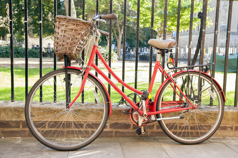 Download Red Bike in Cambridge stock image. Image of britain, england - 40837067