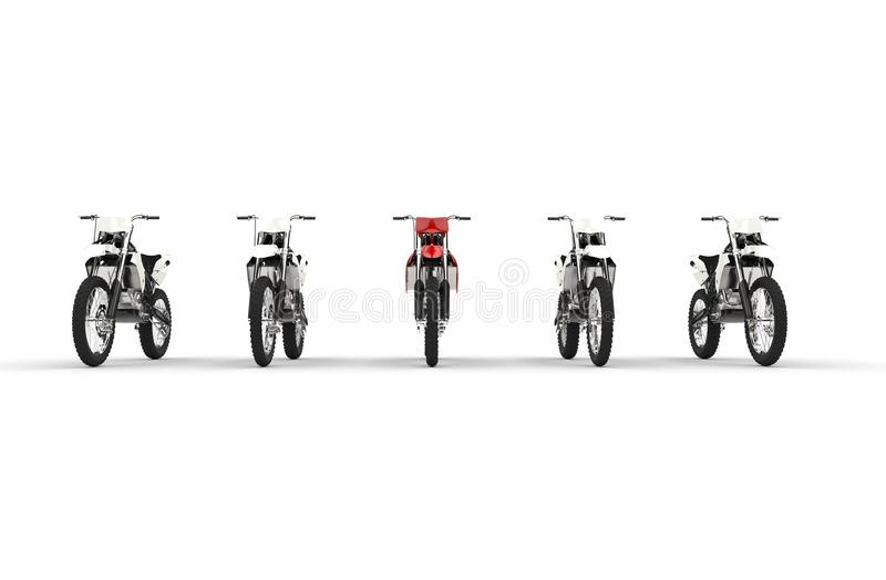 Red bike among white bikes. Front view stock photography