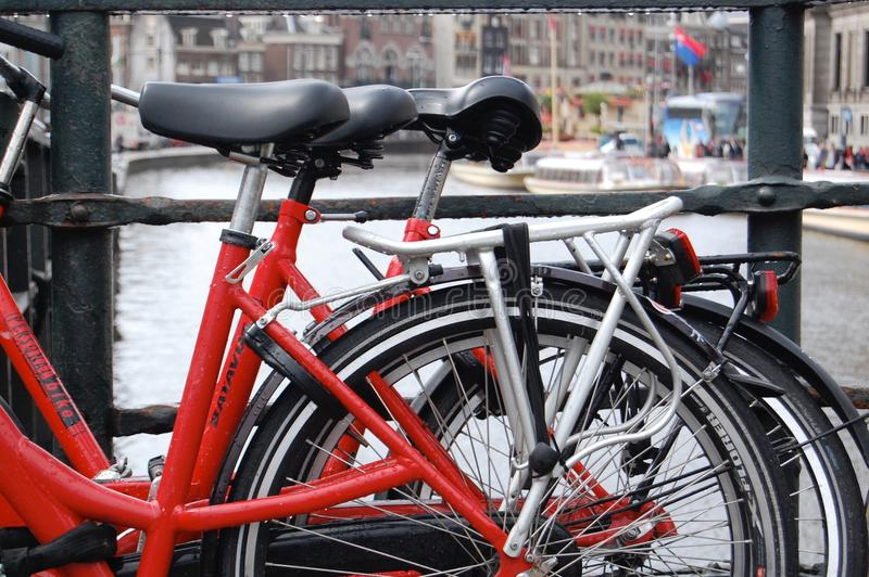 Red Bikes in Amsterdam. Red Bikes parked over the canal in Amsterdam royalty free stock photo